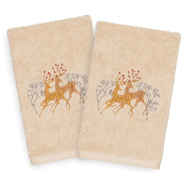 Beam Deer Pair Embroidered Luxury 100% Turkish Cotton Hand Towel (Set of 2) by The Holiday Aisle